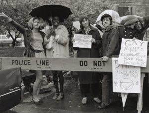 Marsha P Johnson & Sylvia Rivera at 1973 gay rights rally in New York City.